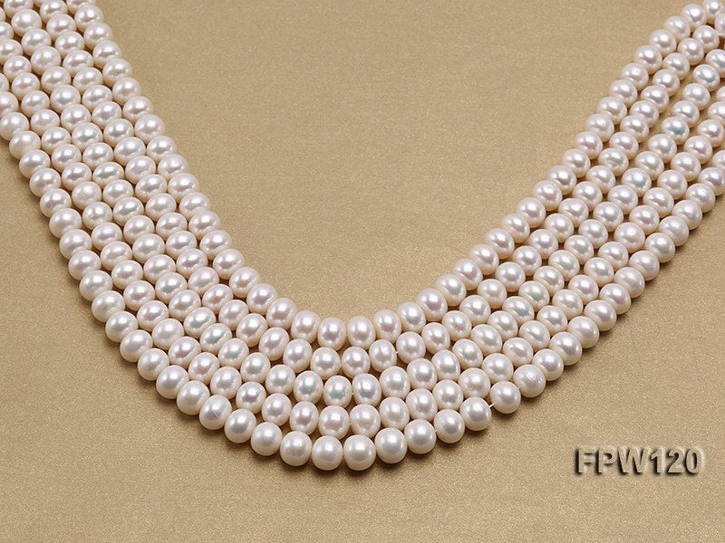 Wholesale 9-10mm White Flat Freshwater Pearl String