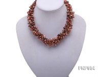Four-strand 5x13mm Champagne Freshwater Pearl Necklace