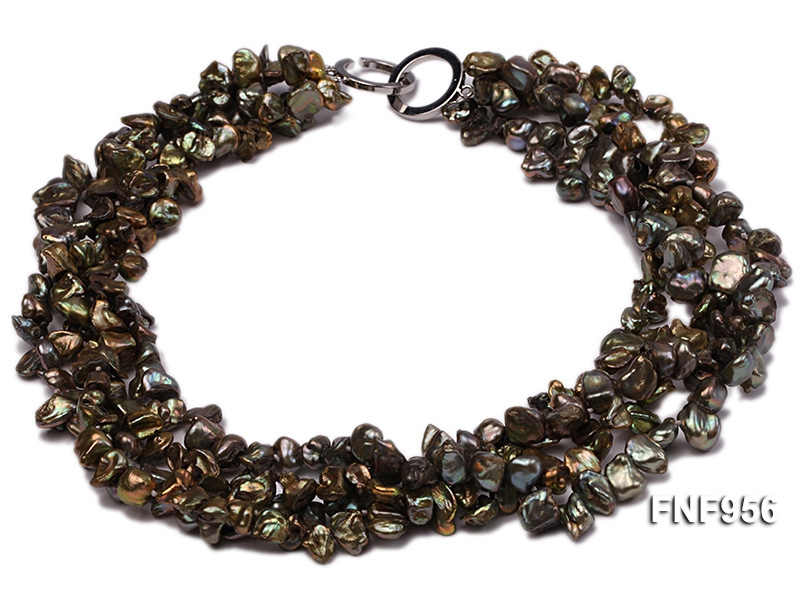 Four-strand 7x11mm Dark-green Baroque Freshwater Pearl Necklace