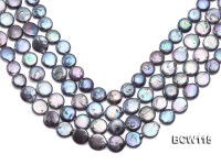 Wholesale 13-14mm Royal Blue Coin-like Cultured Freshwater Pearl String