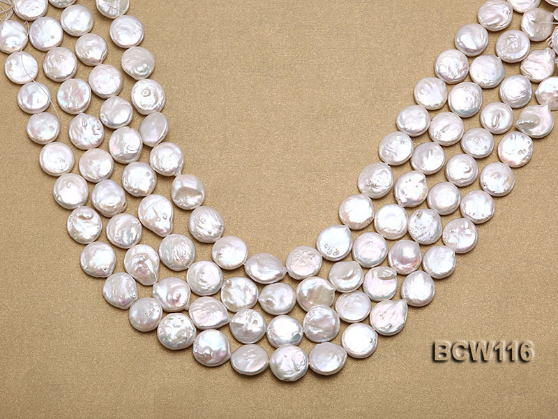 Wholesale High-quality 13-14mm Classic White Coin-shaped Cultured Freshwater Pearl String