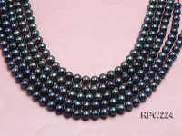 Wholesale AA-grade 10-11mm Black Round Freshwater Pearl String