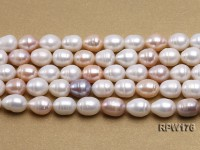 AA-grade 10.5x13mm White/Pink/Lavender Rice-shaped Freshwater Pearl String