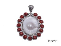45x50mm oval mabe pearl pendant circled with red sponge coral