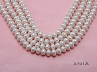 Wholesale 9x12mm White Abacus-shaped Seashell Pearl String