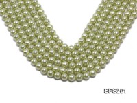 Wholesale 10mm Yellowish Green Round Seashell Pearl String