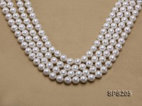 Wholesale 10mm Classic White Round Zircon-inlaid Seashell Pearl String