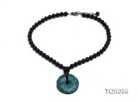 Natural Black Agate Necklace with Turquoise Pendant