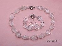 Rock Crystal Necklace, Bracelet and Earrings Set
