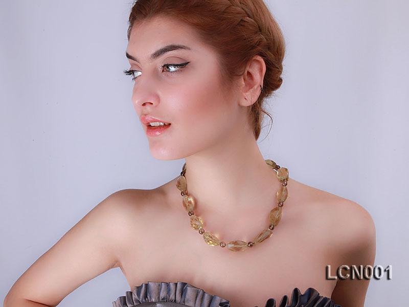 14x16x22mm Faceted Lemon Quartz Pieces and 8mm Round Smoky Quartz Beads Necklace