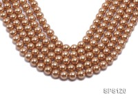 Wholesale 12mm Golden Round Seashell Pearl String