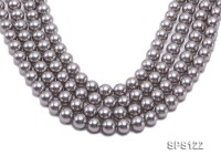 Wholesale 12mm Silver Grey Round Seashell Pearl String