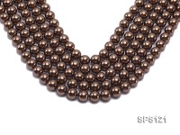Wholesale 12mm Bright Coffee Round Seashell Pearl String