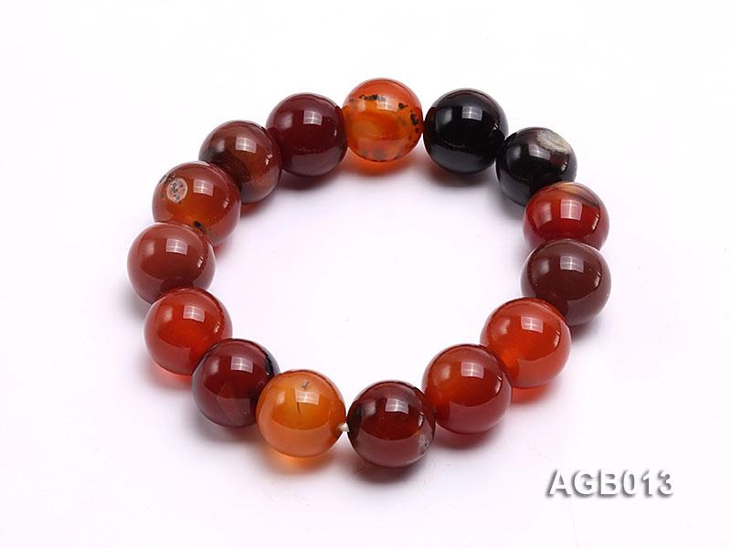 14mm multicolor round agate bracelet