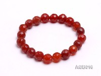 10mm red round faceted agate bracelet