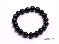 10mm black round agate bracelet