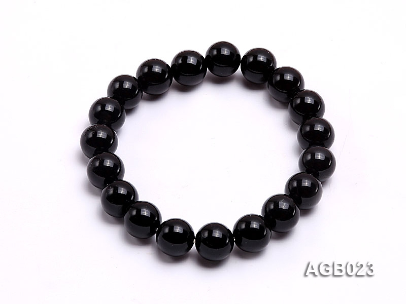 10mm black round agate bracelet