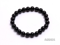 8mm black round  agate bracelet