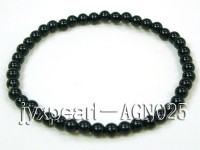4mm black round  agate bracelet
