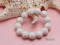 16mm Round White Carved Tridacna Beads Elasticated Bracelet