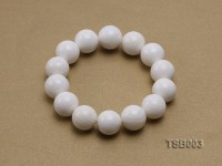 14mm Round White Tridacna Beads Elasticated Bracelet