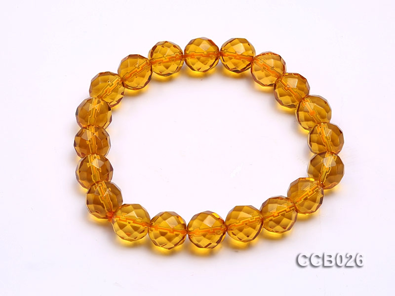 10mm Round Faceted Citrine Beads Elastic Bracelet