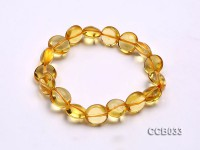 7×11.5mm Button-shaped Citrine Beads Elastic Bracelet