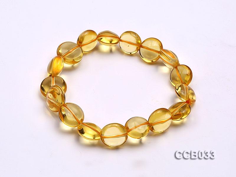 7×11.5mm Button-shaped Citrine Beads Elastic Bracelet