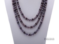 3 strands 8-9mm round freshwater pearl necklace with sliver clasp