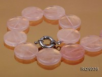 7x25mm Button-shaped Rose Quartz Necklace