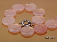 7x25mm Button-shaped Rose Quartz Necklace