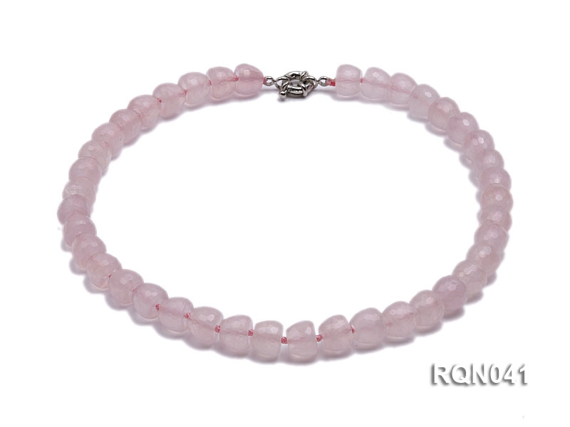 10x12mm Faceted Rose Quartz Necklace
