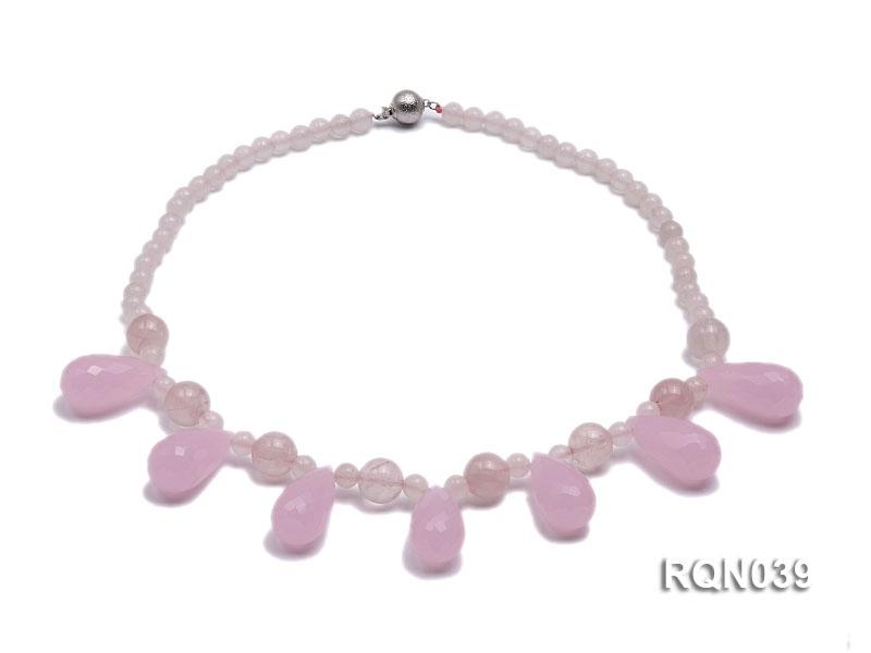 Round and Drop-shaped Rose Quartz Necklace