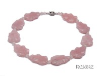 25x40mm Baroque Rose Quartz Pieces Necklace