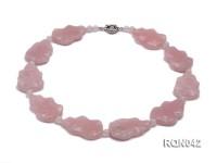 25x40mm Baroque Rose Quartz Pieces Necklace