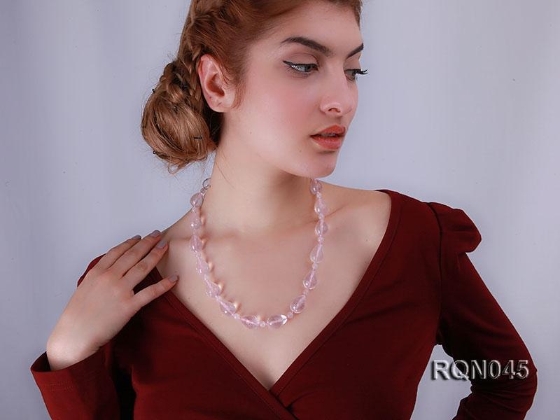 15x20mm Drop-shaped Rose Quartz Beads Necklace