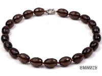 14x20mm Oval Faceted Smoky Quartz Beads Necklace