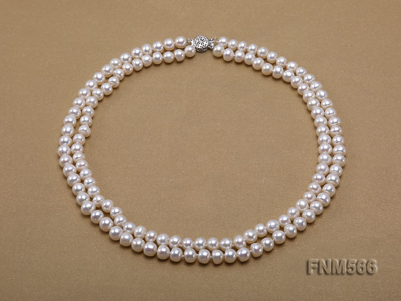 Classic 2-strand 6.5-7.5mm freshwater pearl necklace