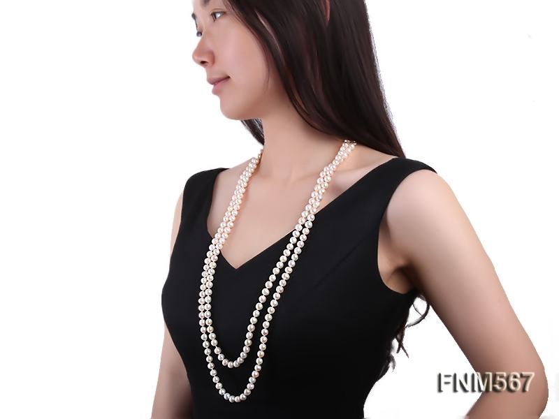 Classic 2-strand white freshwater pearl long necklace