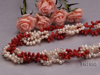5x8mm White Side-drilled Freshwater Pear and 5x10mm Red Coral Necklace