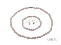 6-7mm Golden Rice-shaped Freshwater Pearl Necklace, Bracelet and earrings Set