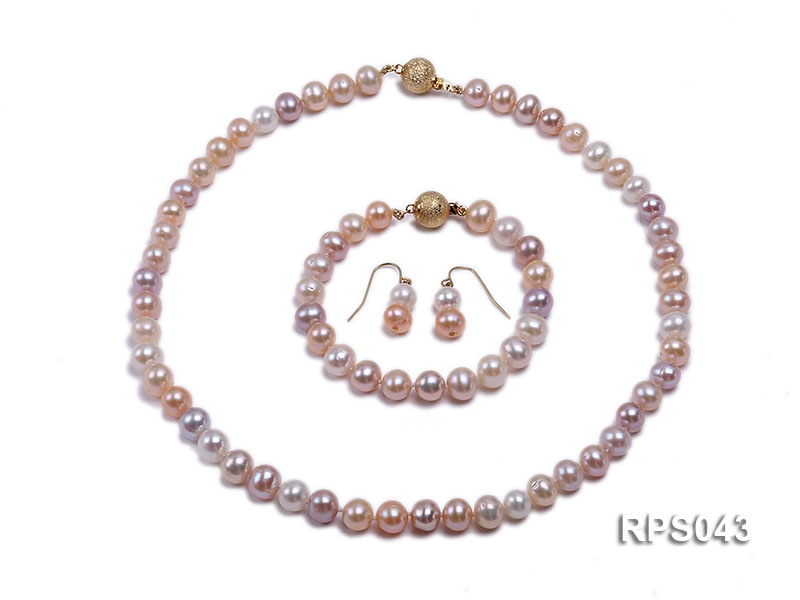 8-9mm pink white&Lavender round freshwater pearl necklace,bracelet and earring set