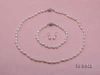 6-7mm White Rice-shaped Freshwater Pearl Necklace, Bracelet and earrings Set