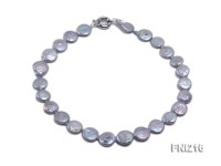 Classic 14mm Light-gray Button-shaped Freshwater Pearl Necklace