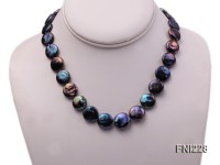 Classic 14mm Black Button Freshwater Pearl Necklace