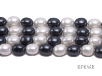 Wholesale 15x20mm Black & White Oval Seashell Pearl String