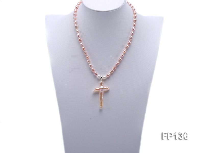Classic Freshwater Pearl Necklace with a 30x50mm Cross-shaped Pearl Pendant