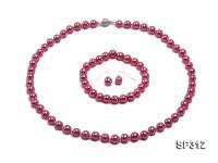 8mm peach shell pearl necklace bracelet earring set