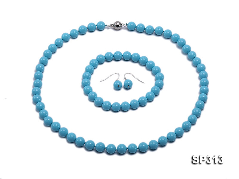 8mm Blue Shell necklace bracelet earring Set