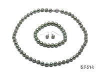 8mm grass green round seashell pearl necklace and bracelet set